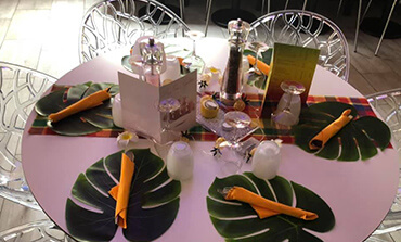 Table dressée à l'occasion d'une soirée organisée au restaurant italien la Pause Napolitaine dans la Vienne (86)